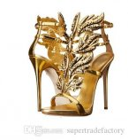 Newest 2019 Hot Selling Gold Silver Coline Cruel Embellished Wing High Heel Sandals Brand Gilded