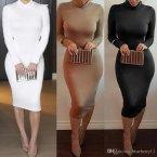 Winter Soft Cotton Stretch Black Party Dresses Plus Size Skinny Sexy Club Wear Gorgeous Warm Maxi Ba