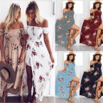 women dresses new wrapped chest print dress seaside holiday dress summer beach Long dress sexy