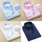 4 Set Of Men Shirt White + Navy Blue + Pink + Sky Blue.