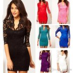 Newest Women Jacquard Lace Mini Dress with scalloped neck Slim Sheath Long Sleeves Celebrity Slim Dr