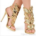 Design Wings Women Sandals Silver Nude Pink Gold Leaf Strappy High Heels Gladiator Sandals
