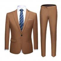 Men's Slim Fit Suit - Golden Brown