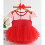 Baby Tutu Dress With Hair Band-red