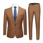 Men's Slim Fit Suit - Golden Brown