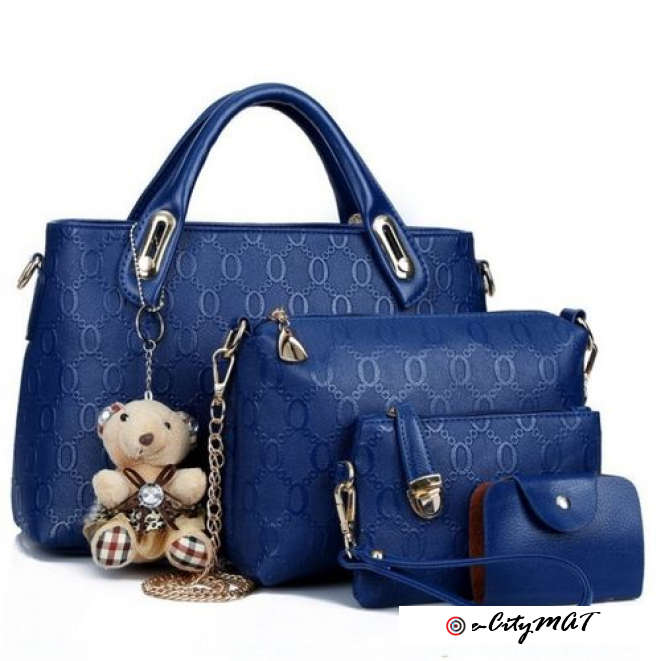 4 In 1 Quality Ladies Handbag (leather)-Blue