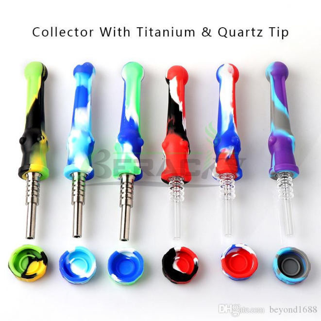 Silicone Nectar Collector Kit With Quartz/ Titanium Tips 14mm Silicone Nector Collector Kit Mini NC