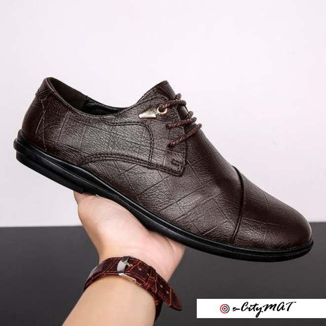 Cow Leather Vintage Formal Business Casual Men's Shoes Lac