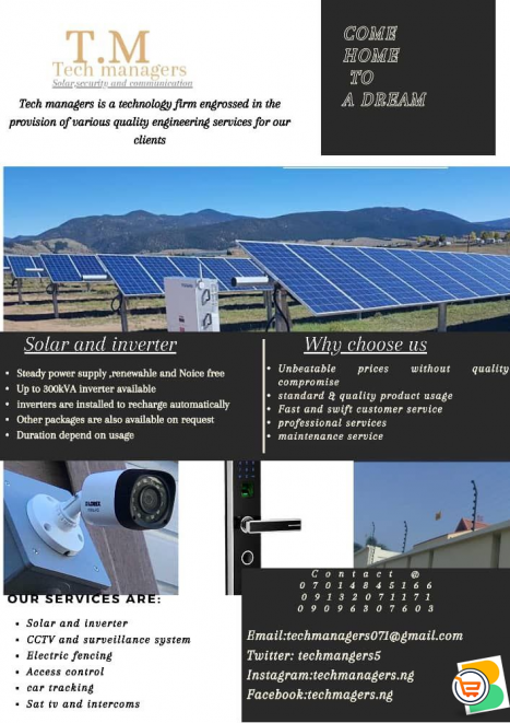 Solar system, CCTV, electric fence ,access control etc