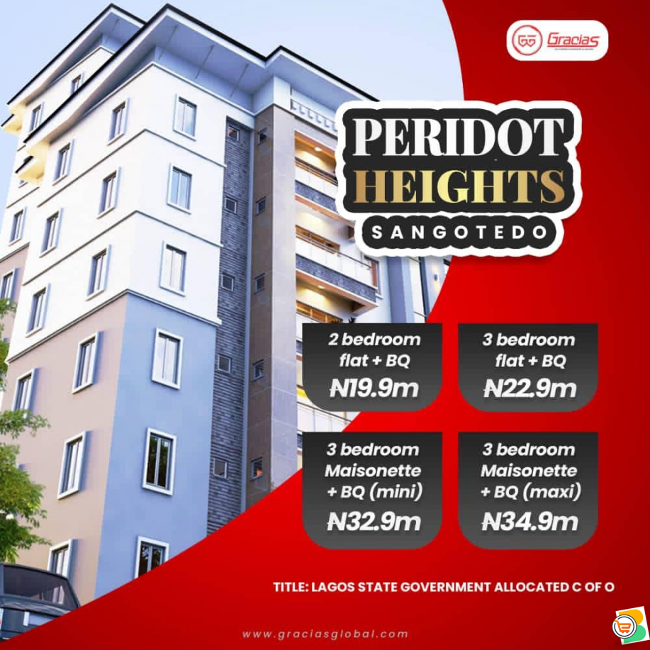 Flats and Maisonettes For Sale at Peridot Heights, Sangotedo  (Call or Whatsapp - 08033444646)