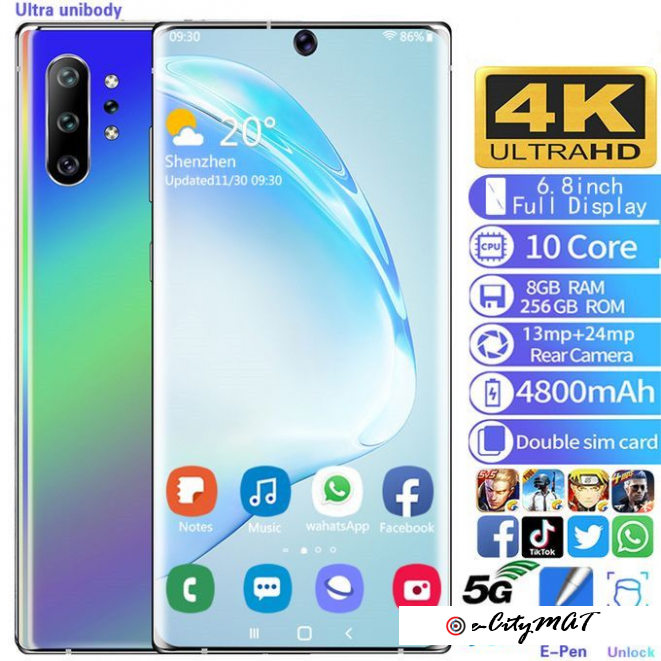 N10 Pro Smartphone 6.8 Inch 8GB+128GB Android 9.0 4800mAh Face Unlock 4G Mobile Phone-Multicolour