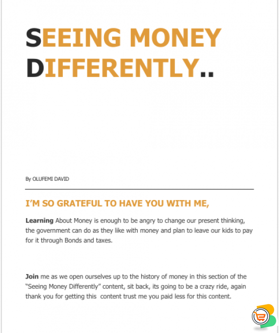 SEEING MONEY DIFFERENTLY