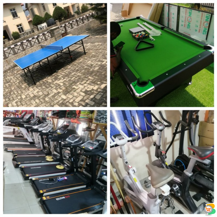 We Sell Gym and Sports Equipment such as Treadmill, Spinning Bike, Snooker Board, Table Tennis and m