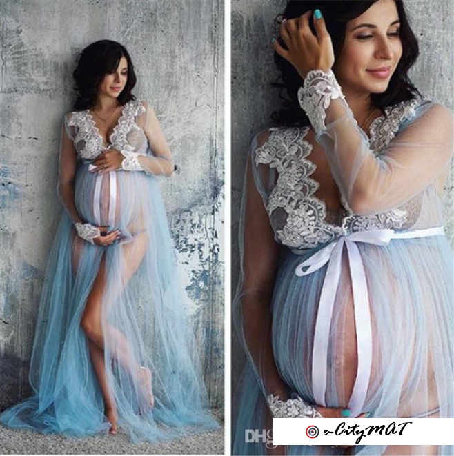 New Women Pregnant Maternity Gown Photography Props Costume Lace Long Maxi Dress Women