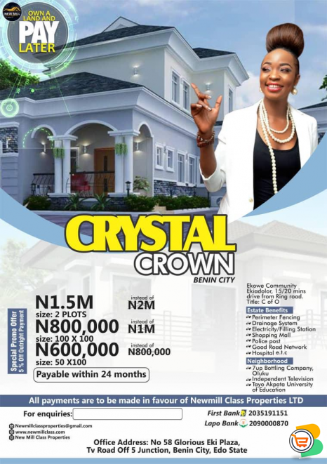 LANDS FOR SALE - Crystal Crown Estate on Installment and Outright Sales AT Ekiadolor axis Benin city