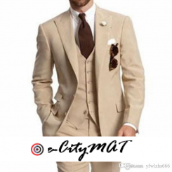 Champagne Wedding Tuxedos Slim Fit Suits For Men Groomsmen Suit Three Pieces Cheap Prom Formal Suits