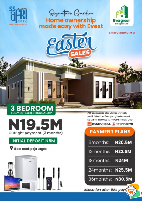 3 Bedroom Fully Detached Bungalow For Sale at Signature Garden, Ipaja (Call or Whatsapp)