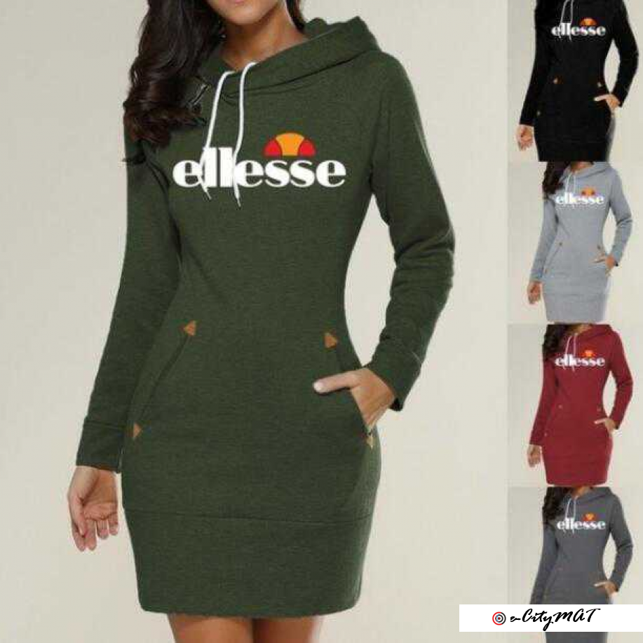 2019 Europe and America hot women letter printing sweater hooded zipper pullover in the long dress f