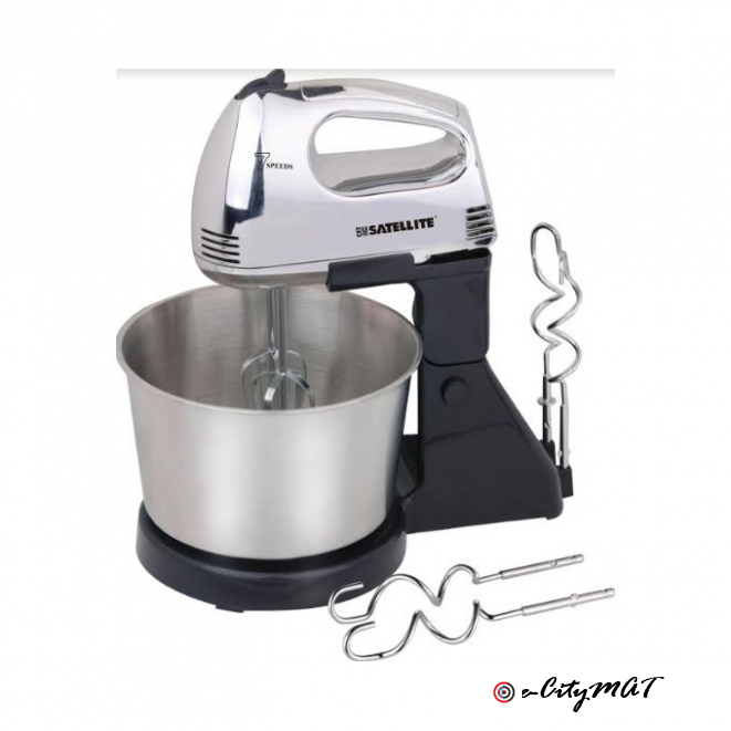 Bm Satellite 2L HAND MIXER WITH STEEL BOWL 7 SPEED SETTINGS, 130 WATTS