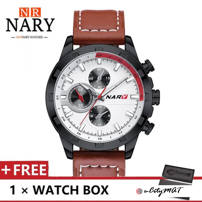 Nary Men's Waterproof Wrist Watch Casual Quartz Watches- Brown