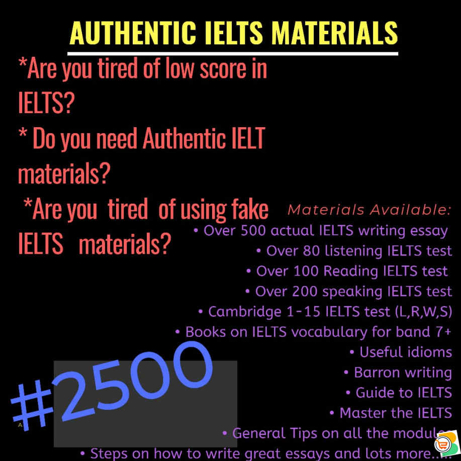 Get Actual IELTS Materials for just N2500 and get high score