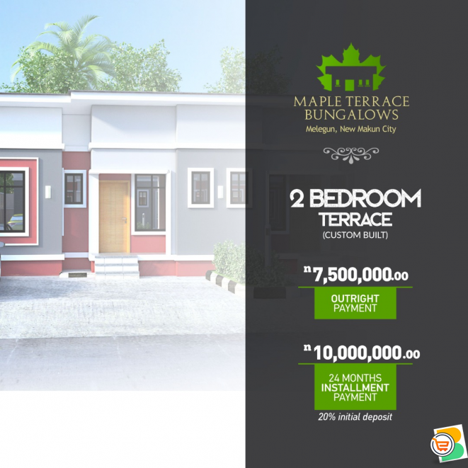 FOR SALE - 2 Bedroom Terrace at Maple Terrace Bungalows, New Makun City, Ogun
