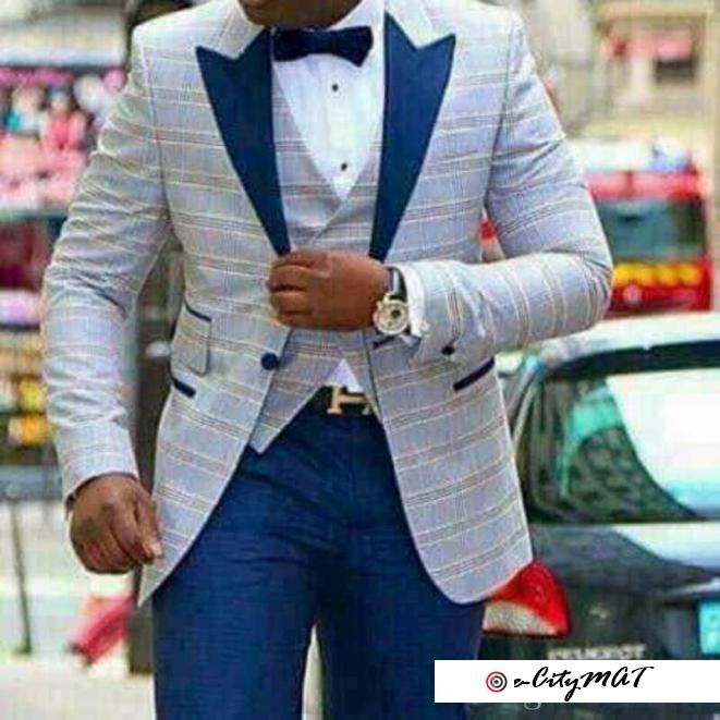 Item Name:High Quality One Button Light Blue Plaid Wedding Groom Tuxedos Peak Lapel Groomsmen Mens
