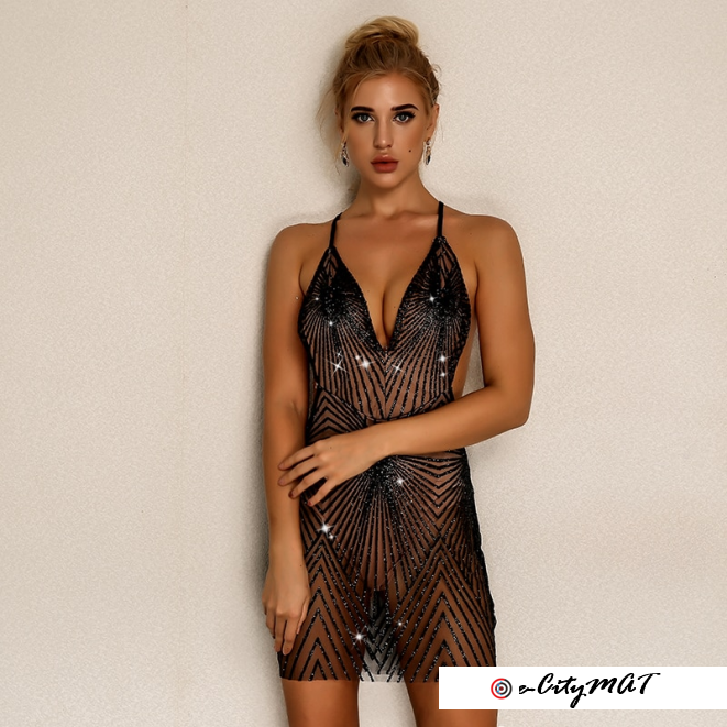 Joyfunear Women Sexy Dress Summer 2018 New Beach V Neck Sequin Mini Dress Bodycon Bandage Retro
