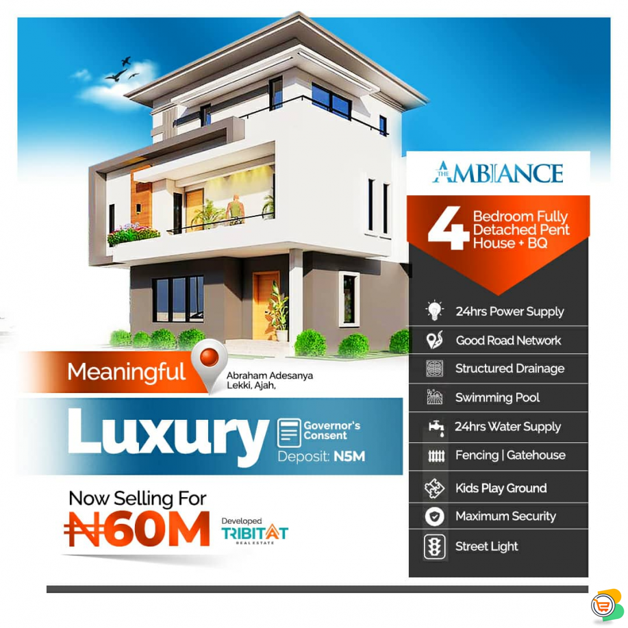 4 Bdr Fully Detached Penthouse  For Sale at Abraham Adesanya - Call  09099975849