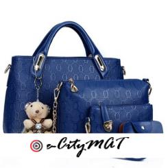 4 In 1 Quality Ladies Handbag (leather)-Blue