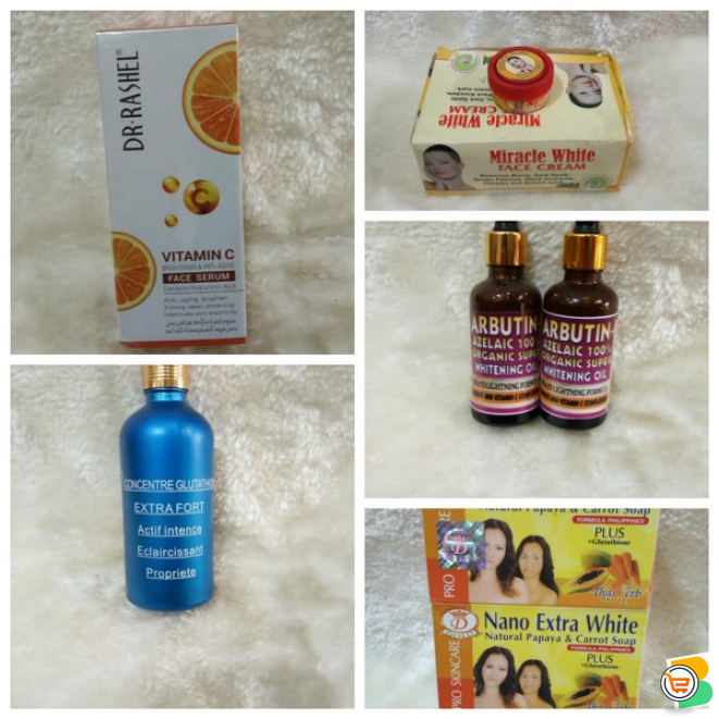 X white body lotion, Blemish care rose water, Gluta capsule oil, Dr.Shashel face serum and more