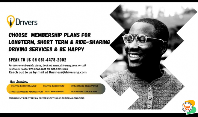 MEMBERSHIP PLANS FOR LONGTERM, SHORT TERM & RIDE-SHARING DRIVING SERVICES - JOIN NOW (Call 08144