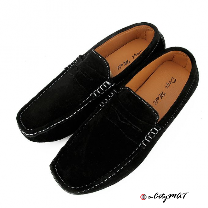 Men Suede Loafers Moccasins Shoes -Black
