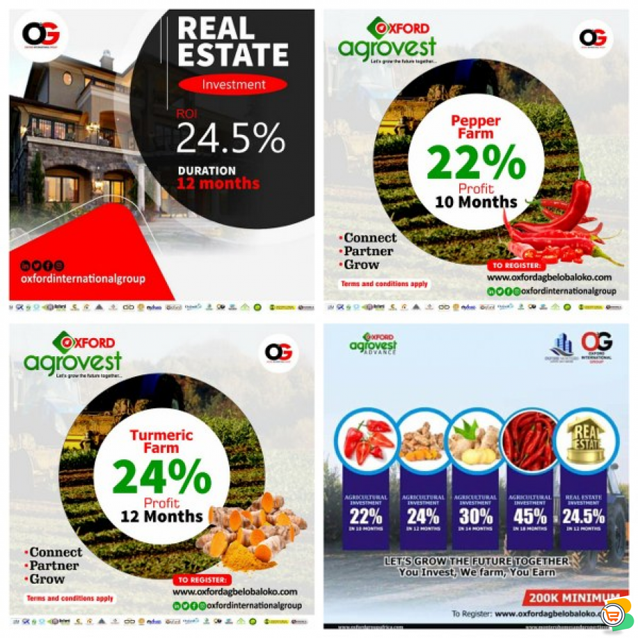 Invest into Our Real Estate or Agro Investment  - call 08062781549